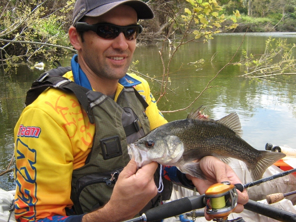 A 40cm bass that hit the surface three times before hooking up. Gee he was keen!